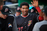 Batavia Muckdogs right fielder Jerar Encarnacion (27) high fives with teammates in the dugout during a game against the West Virginia Black Bears on June 18, 2018 at Dwyer Stadium in Batavia, New York.  Batavia defeated West Virginia 9-6.  (Mike Janes/Four Seam Images)