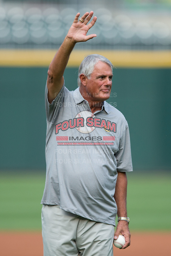Former Major League player and manager Lou Piniella waves to the crowd prior to throwing a ceremonial first pitch prior to the International League game between the Syracuse Chiefs and the Charlotte Knights at BB&T BallPark on June 1, 2016 in Charlotte, North Carolina.  The Knights defeated the Chiefs 5-3.  (Brian Westerholt/Four Seam Images)