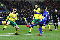 Junior Hoilett of Cardiff City is challenged by Harrison Reed of Norwich City during the Sky Bet Championship match between Cardiff City and Norwich City at The Cardiff City Stadium, Wales, UK. Friday 01 December 2017