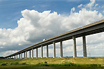 Isle of Sheppey Kent UK. The new flyover and the old bridge. 2014