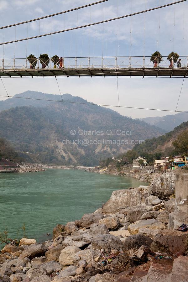 India, Rishikesh.  Footbridge over the Ganges (Ganga) River.