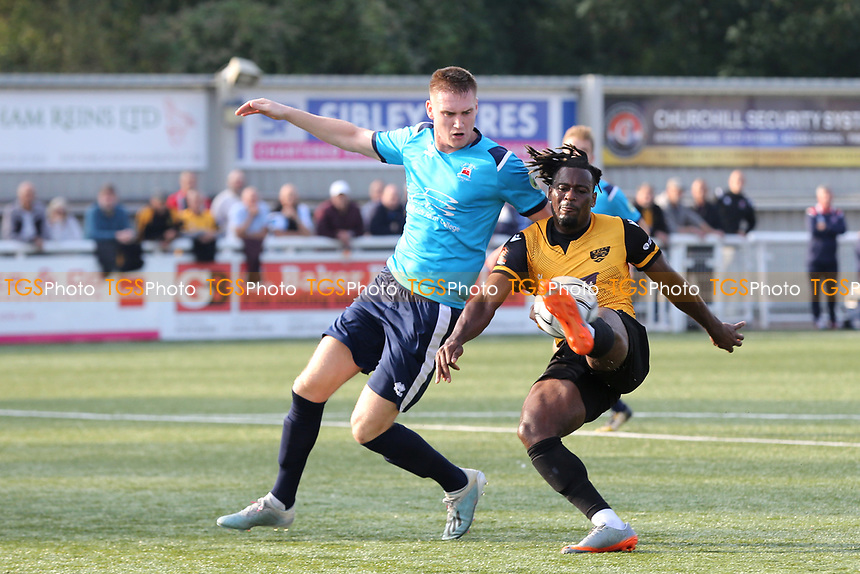 Christie Pattison of Maidstone United controls the ball under pressure from Eastbourne's Mitchell Dickenson during Maidstone United vs Eastbourne Borough, Vanarama National League South Football at the Gallagher Stadium on 9th October 2021