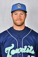 Asheville Tourists catcher Greg Jones (25) during media day at McCormick Field on April 2, 2019 in Asheville, North Carolina. (Tony Farlow/Four Seam Images)
