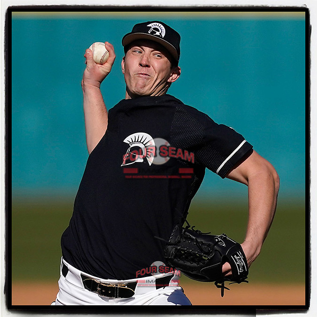 Pitcher Alex Garbrick (14) of the University of South Carolina Upstate Spartans has been selected by the Philadelphia #Phillies in the 17th round (505 overall) in the 2021 MLB Draft. He's pictured earning a 5-1 win over Toledo on February 20, 2021, at Cleveland S. Harley Park in Spartanburg, South Carolina. (Tom Priddy/Four Seam Images)