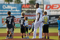 Daytona Tortugas pitcher Amir Garrett (23) before a game against the Clearwater Threshers at Radiology Associates Field at Jackie Robinson Ballpark on May 9, 2015 in Daytona, Florida. Clearwater defeated Daytona 7-0. (Robert Gurganus/Four Seam Images)