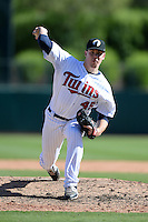 Glendale Desert Dogs pitcher Trevor May (45), of the Minnesota Twins organization, during an Arizona Fall League game against the Mesa Solar Sox on October 8, 2013 at Camelback Ranch Stadium in Glendale, Arizona.  The game ended in an 8-8 tie after 11 innings.  (Mike Janes/Four Seam Images)