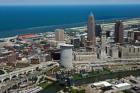 aerial photograph of downtown Cleveland, Ohio, Lake Erie with the FirstEnergy stadium and Burke Lakefront airport