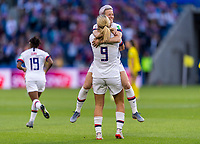 LE HAVRE,  - JUNE 20: Lindsey Horan #9 celebrates her goal with Megan Rapinoe #15 during a game between Sweden and USWNT at Stade Oceane on June 20, 2019 in Le Havre, France.
