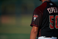 A detailed view of the Arizona Diamondbacks logo on the sleeve of AZL D-backs manager Wellington Cepeda (50) as he coaches third base during an Arizona League game against the AZL Mariners on July 3, 2019 at Salt River Fields at Talking Stick in Scottsdale, Arizona. The AZL D-backs defeated the AZL Mariners 3-1. (Zachary Lucy/Four Seam Images)