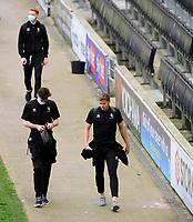 Lincoln City's Conor McGrandles, left, and James Jones arrive at the ground<br /> <br /> Photographer Chris Vaughan/CameraSport<br /> <br /> The EFL Sky Bet League One - Milton Keynes Dons v Lincoln City - Saturday 19th September 2020 - Stadium MK - Milton Keynes<br /> <br /> World Copyright © 2020 CameraSport. All rights reserved. 43 Linden Ave. Countesthorpe. Leicester. England. LE8 5PG - Tel: +44 (0) 116 277 4147 - admin@camerasport.com - www.camerasport.com