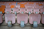 Edinburgh City v Spartans, 11/04/2015. Commonwealth Stadium, Scottish Lowland League. Seating in the main grandstand at the Commonwealth Stadium at Meadowbank before the Scottish Lowland League match between Edinburgh City and city rivals Spartans, which was won by the hosts by 2-0. Edinburgh City were the 2014-15 league champions and progressed to a play-off to decide whether there would be a club promoted to the Scottish League for the first time in its history. The Commonwealth Stadium hosted Scottish League matches between 1974-95 when Meadowbank Thistle played there. Photo by Colin McPherson.