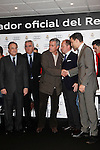 Real Madrid coach Jose Mourinho (c) and the President Florentino Perez participate and receive new Audi during the presentation of Real Madrid's new cars made by Audi at the Jarama racetrack on November 8, 2012 in Madrid, Spain.(ALTERPHOTOS/Harry S. Stamper)