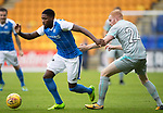 St Johnstone v Hartlepool…22.07.17… McDiarmid Park… Pre-Season Friendly<br />Romaine Habran goes past Carl Magnay<br />Picture by Graeme Hart.<br />Copyright Perthshire Picture Agency<br />Tel: 01738 623350  Mobile: 07990 594431