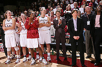 28 December 2007: Kayla Pedersen, Hannah Donoghe, Candice Wiggins, Jayne Appel, Amy Tucker and Tara Vanderveer after Stanford's 105-47 win over Washington State at Maples Pavilion in Stanford, CA.