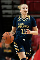 COLLEGE PARK, MD - NOVEMBER 20: Tori Hyduke #11 of George Washington moves up court during a game between George Washington University and University of Maryland at Xfinity Center on November 20, 2019 in College Park, Maryland.