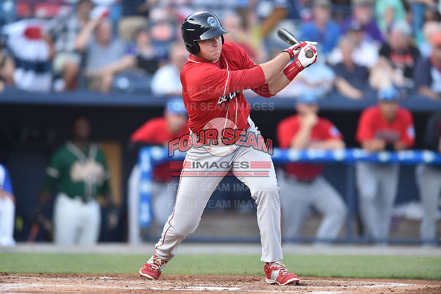 Lakewood Blue Claws first baseman Rhys Hoskins (12) swings at a pitch during the South Atlantic League All Star Game on June 23, 2015 in Asheville, North Carolina. The North Division defeated the South 7-5(Tony Farlow/Four Seam Images)