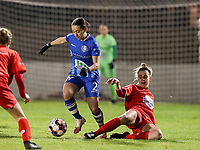 Rkia Mazrouai (2) of AA Gent and Sheila Broos (20) of Woluwe in action during a female soccer game between FC Femina White Star Woluwe and AA Gent Ladies on the 13 th matchday of the 2020 - 2021 season of Belgian Scooore Womens Super League , friday 5 th of February 2021  in Woluwe , Belgium . PHOTO SPORTPIX.BE | SPP | SEVIL OKTEM