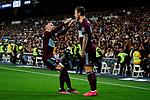 Iago Aspas (L) and Fedor Smolov (R) of RC Celta de Vigo celebrate goal during La Liga match between Real Madrid and RC Celta de Vigo at Santiago Bernabeu Stadium in Madrid, Spain. February 16, 2020. (ALTERPHOTOS/A. Perez Meca)