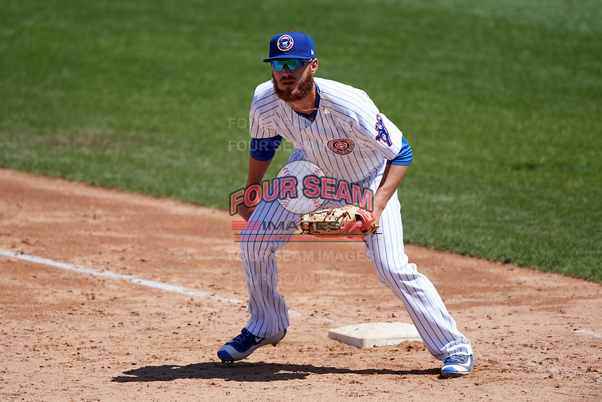 South Bend Cubs first baseman Matt Rose (17) during the first game of a doubleheader against the Peoria Chiefs on July 25, 2016 at Four Winds Field in South Bend, Indiana.  South Bend defeated Peoria 9-8.  (Mike Janes/Four Seam Images)
