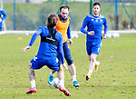 St Johnstone Training....24.02.21<br />Chris Kane is closed down by Stevie May during training at McDiarmid Park ahead of Sunday's BETFRED Cup Final against Livingston at Hampden Park.<br /><br />Picture by Graeme Hart.<br />Copyright Perthshire Picture Agency<br />Tel: 01738 623350  Mobile: 07990 594431
