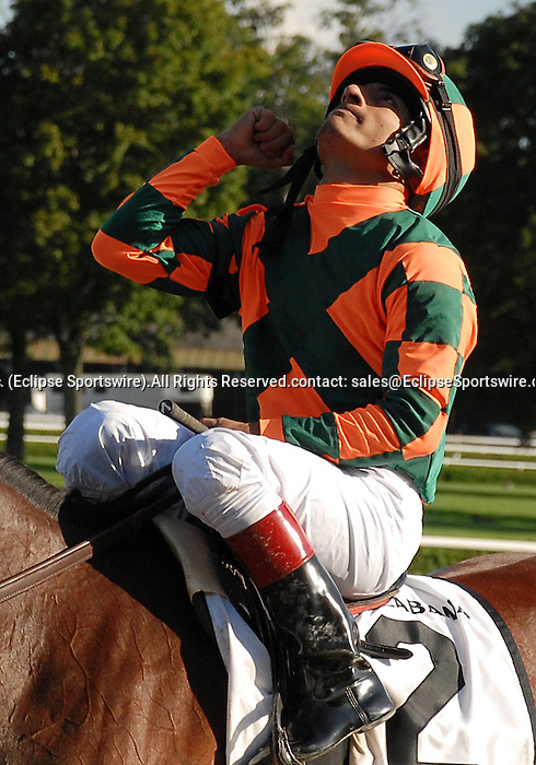 16 August 2008: Jockey Gabriel Saez celebrates his win aboard Proud Spell in the Alabama Stakes at Saratoga Race Course in Saratoga Springs, New York.  Proud Spell turned the tables on 2-5 favorite Music Note to win the 128th running of the race.
