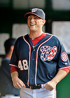 16 May 2012: Washington Nationals pitcher Ross Detwiler stands in the dugout prior to a game against the Pittsburgh Pirates at Nationals Park in Washington, DC. The Nationals defeated the Pirates 7-4 in the first game of their 2-game series. Mandatory Credit: Ed Wolfstein Photo