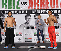 LOS ANGELES, CA - APRIL 30: Omar Figueroa Jr. (L) and Abel Ramos attend the official weigh-in for the Andy Ruiz Jr. vs Chris Arreola Fox Sports PBC Pay-Per-View in Los Angeles, California on April 30, 2021. The PPV fight is on May 1, 2021 at Dignity Health Sports Park in Carson, CA. (Photo by Frank Micelotta/Fox Sports/PictureGroup)