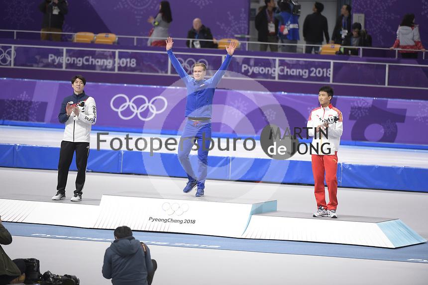 OLYMPIC GAMES: PYEONGCHANG: 19-02-2018, Gangneung Oval, Long Track, Final results 500m Men, Cha Min Kyu (KOR), Havard Lorentzen (NOR), Tingyu Gao (CHN), ©photo Martin de Jong