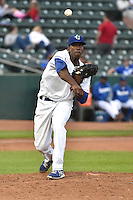 Abdiel Velasquez (40) of the Ogden Raptors on defense against the Grand Junction Rockies during Opening Night of the Pioneer League Season on June 16, 2014 at Lindquist Field in Ogden, Utah. (Stephen Smith/Four Seam Images)
