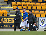 St Johnstone v Kilmarnock.....28.02.15<br /> Frazer Wright goes off injured after being kicked in the face by Steven Anderson<br /> Picture by Graeme Hart.<br /> Copyright Perthshire Picture Agency<br /> Tel: 01738 623350  Mobile: 07990 594431
