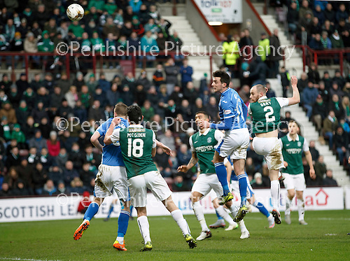 Hibs v St Johnstone...30.01.16   Utilita Scottish League Cup Semi-Final, Tynecastle..<br /> Joe Shaughnessy heads the ball in the net to make it 1-1<br /> Picture by Graeme Hart.<br /> Copyright Perthshire Picture Agency<br /> Tel: 01738 623350  Mobile: 07990 594431
