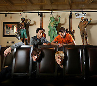 Young Brit band McFLY poses at Hard Rock Cafe.  Danny Jones and Tom Fletcher are upfront and Harry Judd and Dougie Poynter are behind them.  1501 Broadway, NYC.  Newsday/ARI MINTZ  5/12/2006.