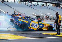 Aug 9, 2020; Clermont, Indiana, USA; NHRA funny car driver Ron Capps during the Indy Nationals at Lucas Oil Raceway. Mandatory Credit: Mark J. Rebilas-USA TODAY Sports