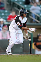 Rochester Red Wings outfielder Steve Singleton #22 at bat during a game against the Louisville Bats at Frontier Field on May 9, 2011 in Rochester, New York.  Rochester defeated Louisville by the score of 7-6 in a marathon 18 inning game.  Photo By Mike Janes/Four Seam Images