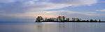 Beautiful atmospheric panoramic view on lake Ontario after sunset with moonlight reflecting in the water Toronto Ontario Canada Spring nighttime scenic