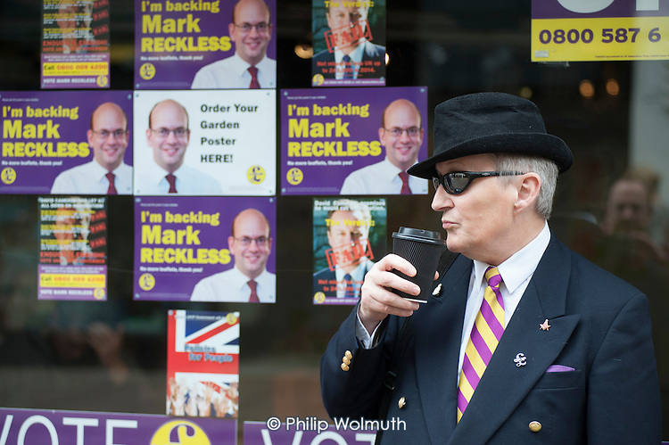 Outside the Rochester UKIP HQ.  UKIP leader Nigel Farage and ex-Tory MP Mark Reckless,the UKIP candidate, campaign in Rochester before the Rochester and Strood by-election.