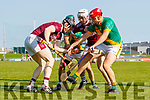 Muiris Delaney, Causeway and Tommy Barrett, Causeway in action against Maurice O'Connor, Kilmoyley and Sean Maunsell, Kilmoyley during the Kerry County Senior Hurling Championship Final match between Kilmoyley and Causeway at Austin Stack Park in Tralee