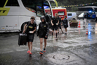 Just as the race finishes, a serious thunderstorm (including hail, hits the area and the Mitchelton-Scott crew enjoy themselves during of this cooling moment<br /> <br /> Stage 18: Embrun to Valloire (208km)<br /> 106th Tour de France 2019 (2.UWT)<br /> <br /> ©kramon