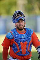 Syracuse Mets catcher Rene Rivera (44) before an International League game against the Charlotte Knights on June 11, 2019 at NBT Bank Stadium in Syracuse, New York.  Syracuse defeated Charlotte 15-8.  (Mike Janes/Four Seam Images)