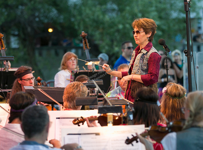 """Conductor Maestro Laura Jackson during the Pops on the River """"A night at Woodstock"""" concert at Wingfield Park in downtown Reno on Saturday, July 13, 2019. during the Pops on the River """"A night at Woodstock"""" concert at Wingfield Park in downtown Reno on Saturday, July 13, 2019."""