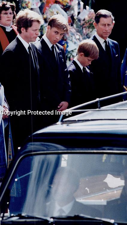 Royal Family at Diana; Princess of Wales' Funeral.<br /> <br /> Photo : Boris Spremo - Toronto Star archives - AQP