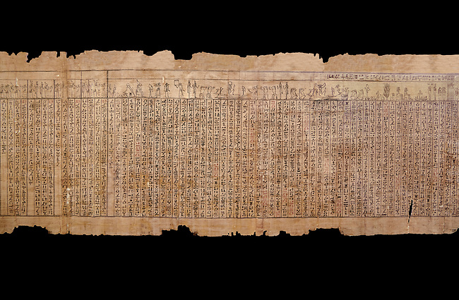 Ancient Egyptian Book of the Dead papyrus - Spell 17 about the God Atum, Iufankh's Book of the Dead, Ptolemaic period (332-30BC).Turin Egyptian Museum.  Black background<br /> <br /> the spell is one of the ongest in the Book of the Dead and one of its most complex frequently used in many other Books of the Dead. It is about the nature of the creator God Atum and is meant to make sure the deceased is capable of demonstrating his of her knowledge of religious secrets<br /> <br /> The translation of  Iuefankh's Book of the Dead papyrus by Richard Lepsius marked a truning point in the studies of ancient Egyptian funereal studies.