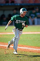 Farmingdale Rams shortstop Brandon Snow (1) during a game against the Union Dutchmen on February 21, 2016 at Chain of Lakes Stadium in Winter Haven, Florida.  Farmingdale defeated Union 17-5.  (Mike Janes/Four Seam Images)