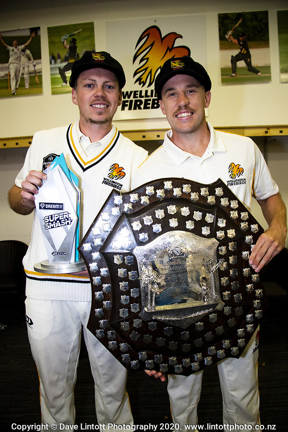 Michael Bracewell and Logan Van Beek. The Wellington Firebirds celebrate winning the 2019-2020 Plunket Shield at Basin Reserve in Wellington, New Zealand on Thursday, 19 March 2020. Photo: Dave Lintott / lintottphoto.co.nz