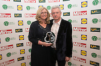 19/05/2015 <br /> Louis Walsh & Paula Kerr <br /> during the Irish mirror pride of Ireland awards at the mansion house, Dublin.<br /> Photo: gareth chaney Collins