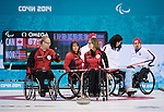 Dennis Thiessen, Jim Armstrong, and Ina Forrest, Sochi 2014 - Wheelchair Curling // Curling en fauteuil roulant.<br />