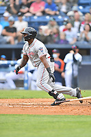 Greenville Drive Tyreque Reed (38) swings at a pitch during a game against the Asheville Tourists on May 18, 2021 at McCormick Field in Asheville, NC. (Tony Farlow/Four Seam Images)