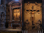 Crucifixion Altar Congregation of St. Peter, 14th c. polychrome wooden Crucifix, Stucco Relief Giuseppe Mazzuoli early 1700s, Monument to Pius III Pietro Balestra 1703-06, Left Transept, Cathedral of Siena, Santa Maria Assunta, Siena, Italy