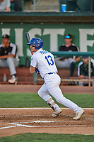 Pavin Parks (13) of the Ogden Raptors at bat against the Grand Junction Rockies at Lindquist Field on June 5, 2021 in Ogden, Utah. The Raptors defeated the Rockies 18-1. (Stephen Smith/Four Seam Images)
