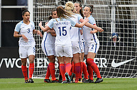 Columbus, Ohio - Thursday March 01, 2018: Jill Scott celebrates her goal with her team mates during a 2018 SheBelieves Cup match between the women's national teams of the England (ENG) and France (FRA) at MAPFRE Stadium.